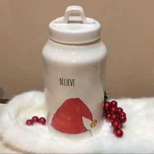 Rae Dunn Believe Canister Santa hat Christmas gift
